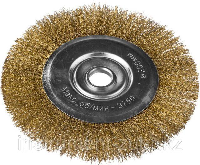 """ЗУБР """"ЭКСПЕРТ"""". Щетка дисковая для УШМ, витая стальная латунированная проволока 0,3мм, 200х22мм"""