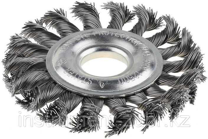 Щетка STAYER дисковая для УШМ, сплет в пучки стальн зак провол 0,5мм, 100мм/22мм                              , фото 2