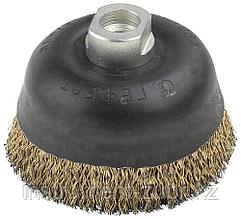 Щетка чашечная для угловой шлифовальной машины, стальная с гайкой, 90мм/М14