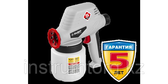 Краскопульт (краскораспылитель) электрический, ЗУБР КПЭ-100, 0.8 л, краскоперенос 0-300мл/мин, вязкость краски