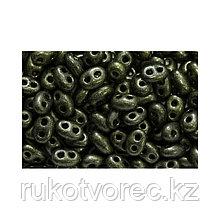 Бисер чешский Twin PRECIOSA 2,5*5мм непрозрачный/матовый жемчужный темно-болотный (28986), 50г