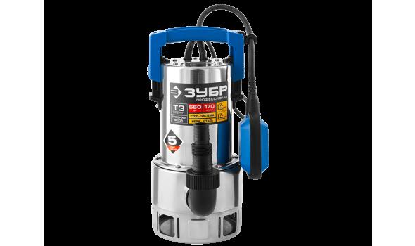 Насос Т3 погружной, ЗУБР Профессионал НПГ-Т3-550-С, дренажный для грязной воды (d частиц до 35мм), 550Вт, 170л