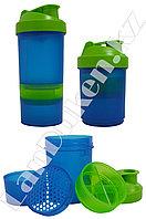 Шейкер 3 в 1 с дополнительными контейнерами (для спортивного питания) сине-зеленый