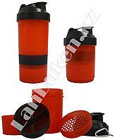 Шейкер 3 в 1 с дополнительными контейнерами (для спортивного питания) красно-черный