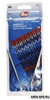 211260 Спицы круговые алюминиевые с гибкой леской, 40 см*4 мм, Prym