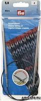 212162 Спицы круговые, латунь, серебристые, 60 см 5,00 мм