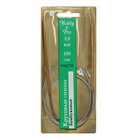 942730 Спицы круговые с металлическим тросиком, бамбук, 100 см*3 мм, Hobby&Pro