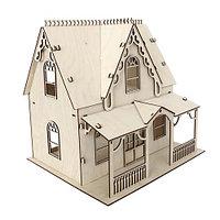 L-650 Деревянная заготовка домик кукольный с верандой 2х этажный 34*30*34 см, Астра