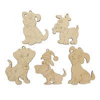 L-789 Дер.заготовка Набор новогодних игрушек для декорирования 'Собаки' 5 шт 7,5*11-9*10 см Астра