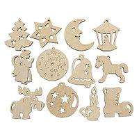 L-857 Деревянная заготовка набор ёлочных игрушек 12 шт 6*7,5 - 6,5*7см Астра