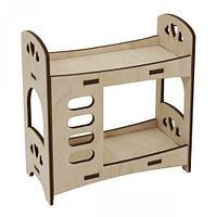 L-656 Деревянная заготовка 'Двухярусная кровать 'Сердечки' 10,5*5*11 см, Астра