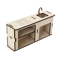 L-659 Деревянная заготовка 'Кухонный модуль 'Раковина и варочная панель' 14*3,5*8,5 см, Астра