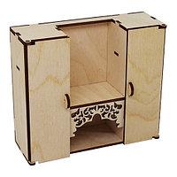L-704 Деревянная заготовка кукольная мебель 'Шкаф- стенка в гостиную с резной полкой' 15*13*5 см, Астра