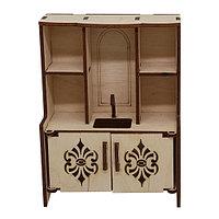 L-705 Деревянная заготовка кукольная мебель 'Кухонный шкаф тройной с мойкой и резными дверцами' 10*13*5,5 см, Астра