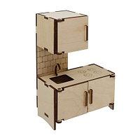 L-723 Дер. заготовка кукольная мебель 'Кухонный модуль навесной шкаф и мойка' 10*5*14,5 см Астра