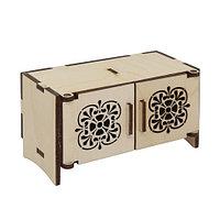 L-731 Дер. заготовка кукольная мебель 'Комодик с резными дверцами' 10*5,5*5,5 см Астра