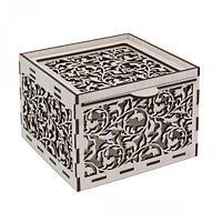 L-679 Деревянная заготовка коробочка 'Резные листочки' 13,5*13,5*10 см, Астра