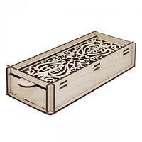 L-682 Деревянная заготовка пенал-шкатулка для мелочей с резной крышкой 21*9*4,5 см, Астра