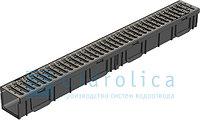 Комплект Gidrolica Light: лоток водоотводный ЛВ-10.11,5.9,5 пластиковый с решеткой стальной оцинкованной, А15, фото 1
