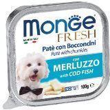 Monge Fresh 100г с Треской паштет для собак Pate with Chunkies Cod Fish, фото 1