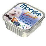 Monge Fruit 100г Индейка с черникой Влажный корм для собак паштет Pate & Chunkies with Turkey & Blueberry, фото 1