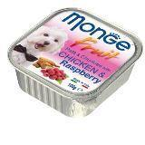 Monge Fruit 100г Курица с малиной Влажный корм для собак Pate & Chunkies with Chicken & Raspberry, фото 1