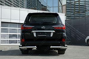 Защита задняя уголки двойные D 76,1х50,8 Lexus LX 450d/LX 570 2015-