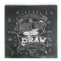 Блокнот для эскизов 25*25 см, 60 листов на гребне Sketchbook, крафтовая бумага 80г/м2