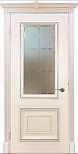"""Двери межкомнатные из массива сосны """"ДЛ 250 Крем Серебро ПО"""""""