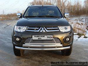 Защита передняя двойная (КРУГ+ОВАЛ) D 76,1/75х42 Mitsubishi Pajero Sport 2013-2016