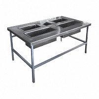 Стол для доочистки картофеля СРОд-1350х800х700 (5 нерж. ёмк.-2 съёмные) каркас: труба окрашенная
