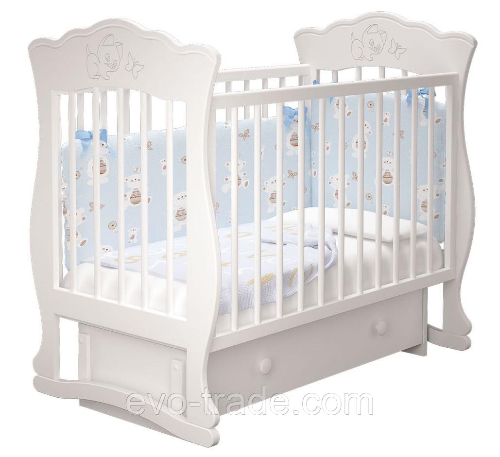 Кроватка Елена (белая), с ящиком
