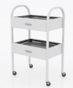 Столик хирургический с двумя выдвижными ящиками и двумя металлическими поддонами (никелированными)