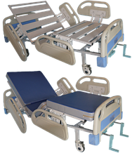 Кровать медицинская функциональная 4-х секционная с винтовой регулировкой, на колесах,спинки-пластик.