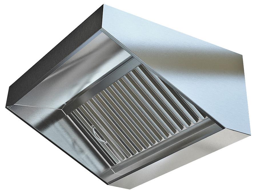 Зонт вытяжной пристенный с масло фильтром полностью нерж.сталь