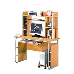 Компьютерный стол, Deluxe, DLFT-502S Paolo, МДФ, 110*148*60 см, Медный, Полки для клавиатуры и сис.