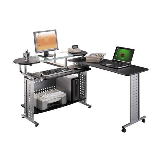 Компьютерный стол, Deluxe, DLFT-3351СT Comfort, МДФ+Стекло, 200*86.5*65 см, Чёрный Графит, Полки для