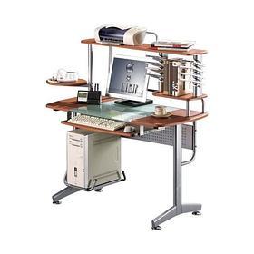 Компьютерный стол, Deluxe, DLFT-3319CT Montoro, МДФ+Стекло, 120*130*60 см, Вишнёвый, Полки для клави