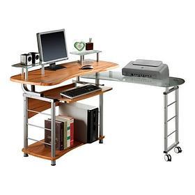Компьютерный стол, Deluxe, DLFT-3808CT Bravo, МДФ+Стекло, 189*96*63 см, Красно-Коричневый, Полки для