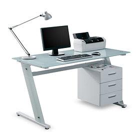 Компьютерный стол, Deluxe, DLFT-3314CT Sigma, Стекло, 140*76*70 см, Белый, Однотумбовый, Тумба с тре