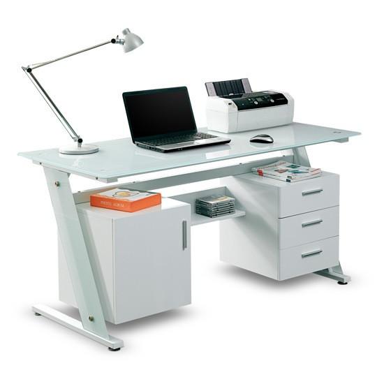 Компьютерный стол, Deluxe, DLFT-3315CT Sofia, Стекло, 150*76*70 см, Белый, Двухтумбовый, Тумба с тре