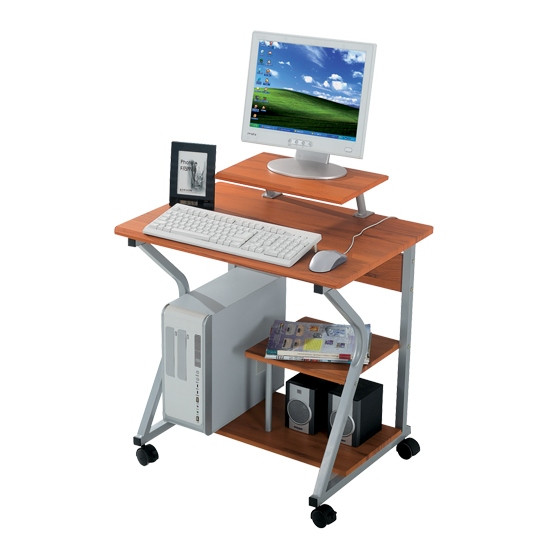 Компьютерный стол, Deluxe, DLFT-218S Franko, МДФ, 70*81*62 см, Ореховый, Полки для клавиатуры и сис.