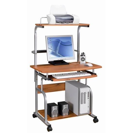 Компьютерный стол, Deluxe, DLFT-7800CT Polaris, МДФ, 80*135*69 см, Красно-Коричневый, Полки для клав