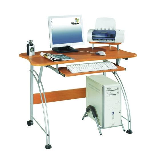 Компьютерный стол, Deluxe, DLFT-207AS Bambino, МДФ, 110*84*60 см, Красно-Ореховый, Полки для клавиат