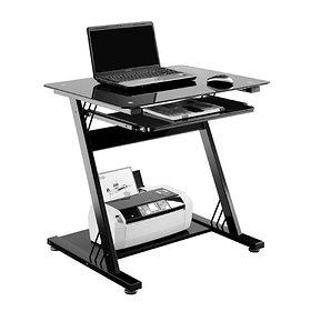 Компьютерный стол, Deluxe, DLFT-3312DСT Belloni, Стекло, 80*76*60 см, Чёрный, Полка для клавиатуры