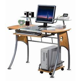 Компьютерный стол, Deluxe, DLFT-3343CT Rossetto, МДФ+Стекло, 110*91*60 см, Светло-Ореховый, Полки дл