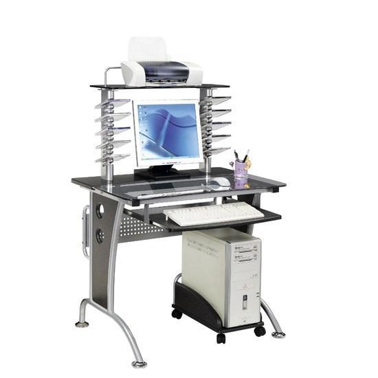 Компьютерный стол, Deluxe, DLFT-3329CT Lanpas, МДФ+Стекло, 90*130*60 см, Чёрный Гранит, Полки для кл