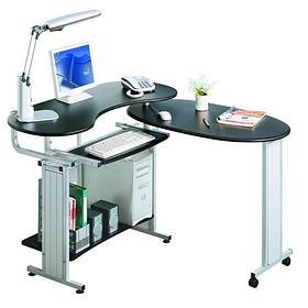 Компьютерный стол, Deluxe, DLFT-213S Europeo, МДФ, 200*81*64.5 см, Чёрный Графит, Полки для клавиату