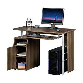 Компьютерный стол, Deluxe, DLFT-228S Riva, МДФ, 105*55*77 см, Коричневый, Полки для клавиатуры и сис