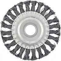 Щетка для УШМ 100 мм, посадка 22,2 мм, плоская, крученая металлическая проволока// MATRIX
